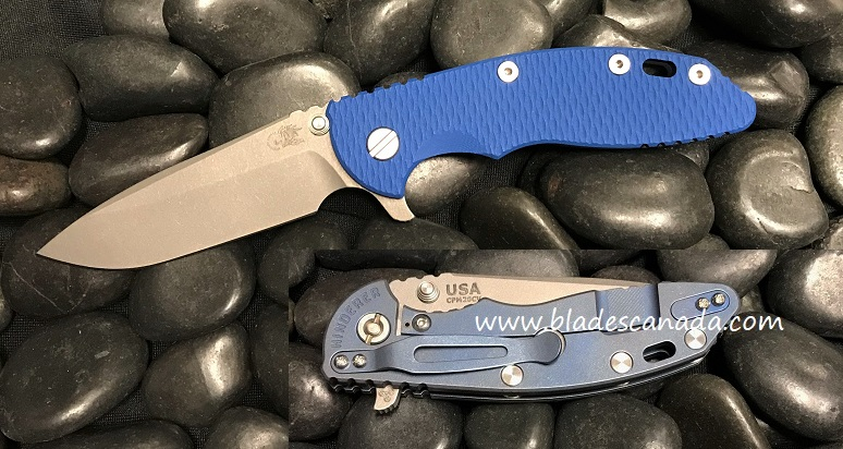 Hinderer XM-18 3.5 Gen 6 Spearpoint WF - Battle Blue/ Blue G-10