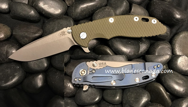 Hinderer XM-18 3.5 Gen 6 Spearpoint WF - Battle Blue/ OD Green G-10