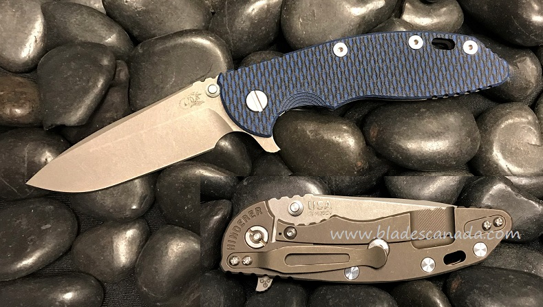 Hinderer XM-18 3.5 Gen 6 Spearpoint WF- Battle Bronze/Blue & Black G-10