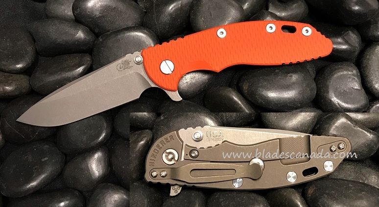 Hinderer XM-18 3.5 Gen 6 Spearpoint WF - Battle Bronze/ Orange G-10