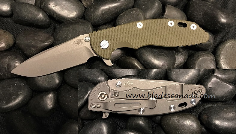 Hinderer XM-18 3.5 Gen 6 Spearpoint Working Finish- OD Green G-10