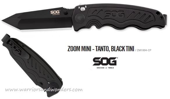 SOG ZM1004 Zoom Mini Tanto Black TiNi Assisted Opening (Online)