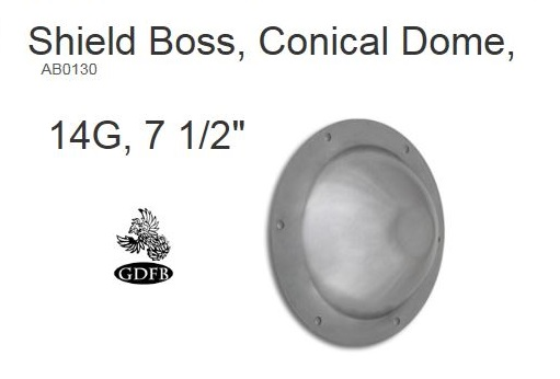 GDFB Shield Boss Conical Dome 14G 7.5""