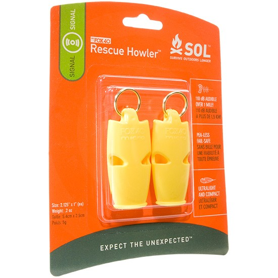 Adventure Medical SOL Rescue Howler Whistler 2-Pack [110dB]