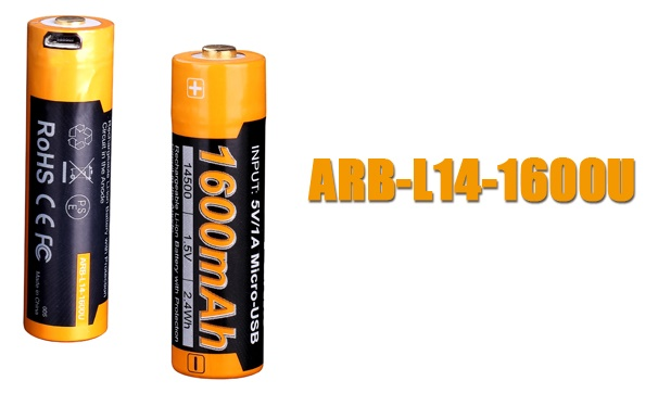 Fenix ARB-L14 USB Rechargeable AA Battery 1600mAh Replacement
