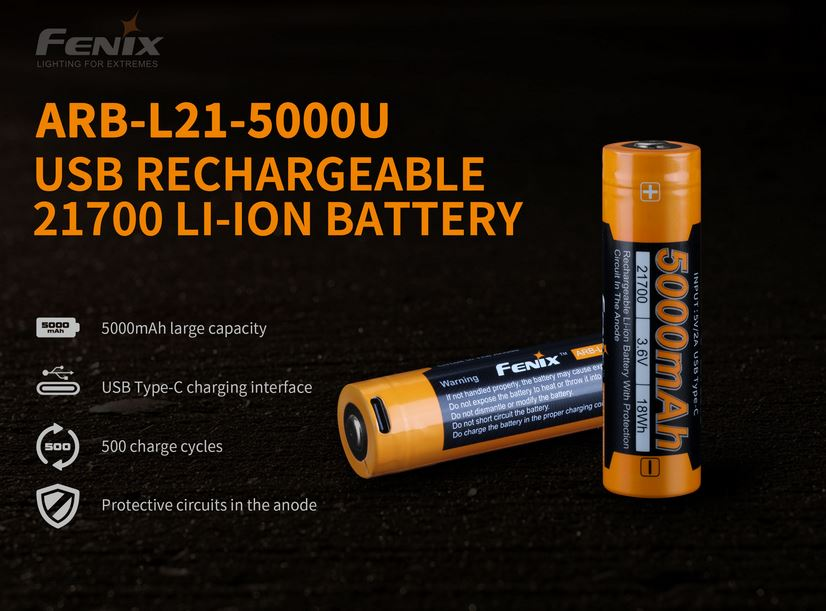 Fenix ARB-L21 USB Rechargeable 21700 Battery - 5000mAh