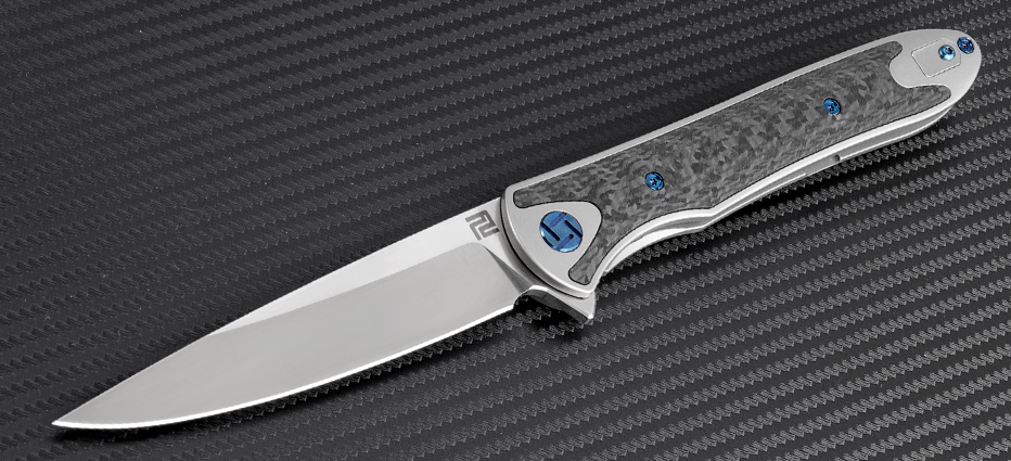 Artisan Small Shark S35VN Ti CF- Grey, 1707GSGY