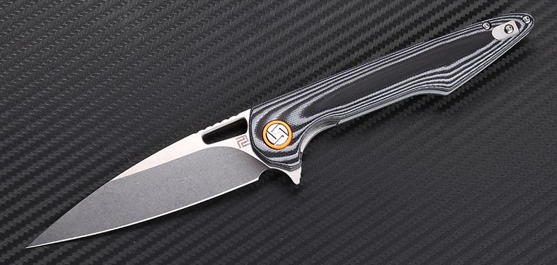 Artisan Cutlery 1821PBGC Archaeo D2 Curve - Black & White G10