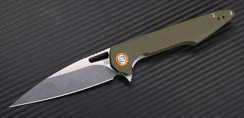 Artisan Cutlery 1821PSGNF Archaeo Mini Flat - Green G10