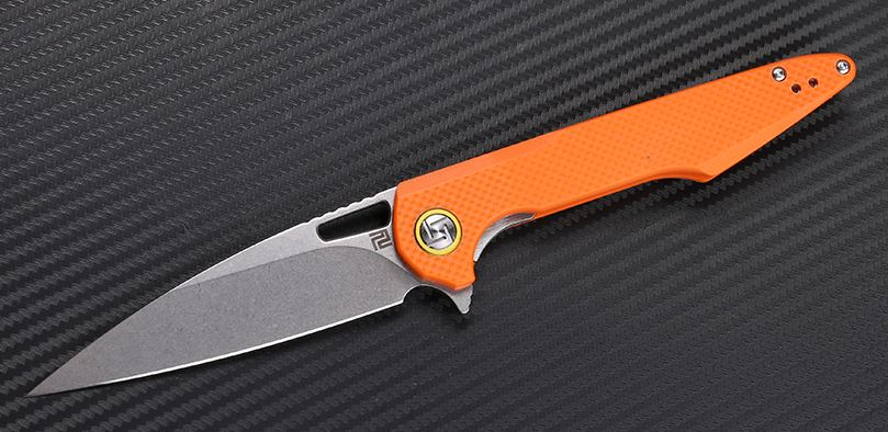 Artisan Cutlery 1821PSOEF Archaeo Mini Flat - Orange G10