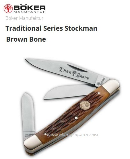 Boker Knives Traditional Series Stockman Brown Bone, Slipjoint, 110726