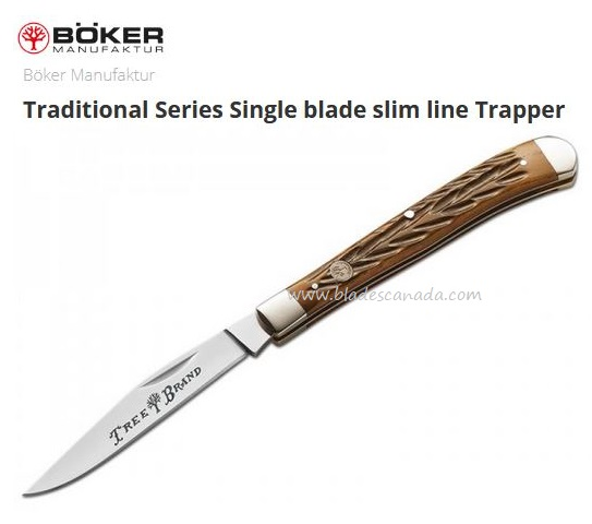 Boker Knives Traditional Slim Line Trapper, Bone Handle, Stainless, 110735