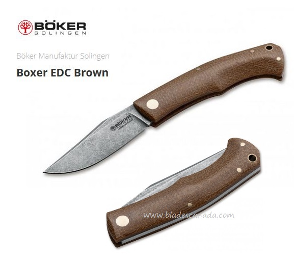 Boker Germany Boxer EDC Brown Micarta, M390, Slipjoint, 111029