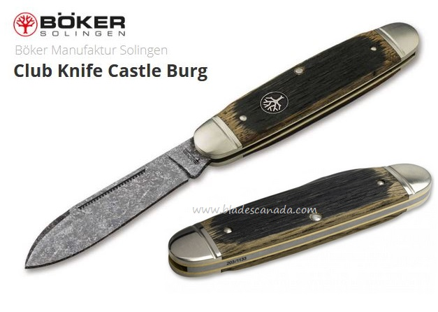 Boker Germany CLub Knife Castle Burg, O1 Steel, Oak Wood, 113909