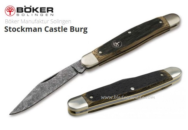 Boker Germany Stockman Castle Burg, O1 Steel, Oak Wood, 113985