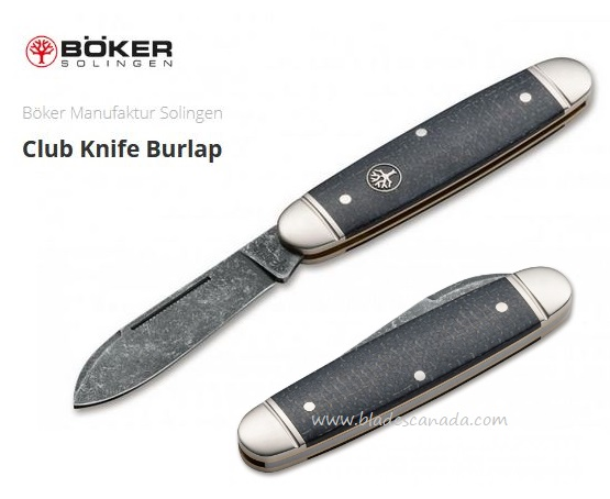Boker Germany Club Knife Burlap, O1 Steel, Micarta, Slipjoint, 114909