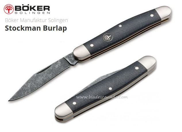 Boker Germany Stockman Burlap Folder, O1 Steel, Micarta, Micarta, 114985