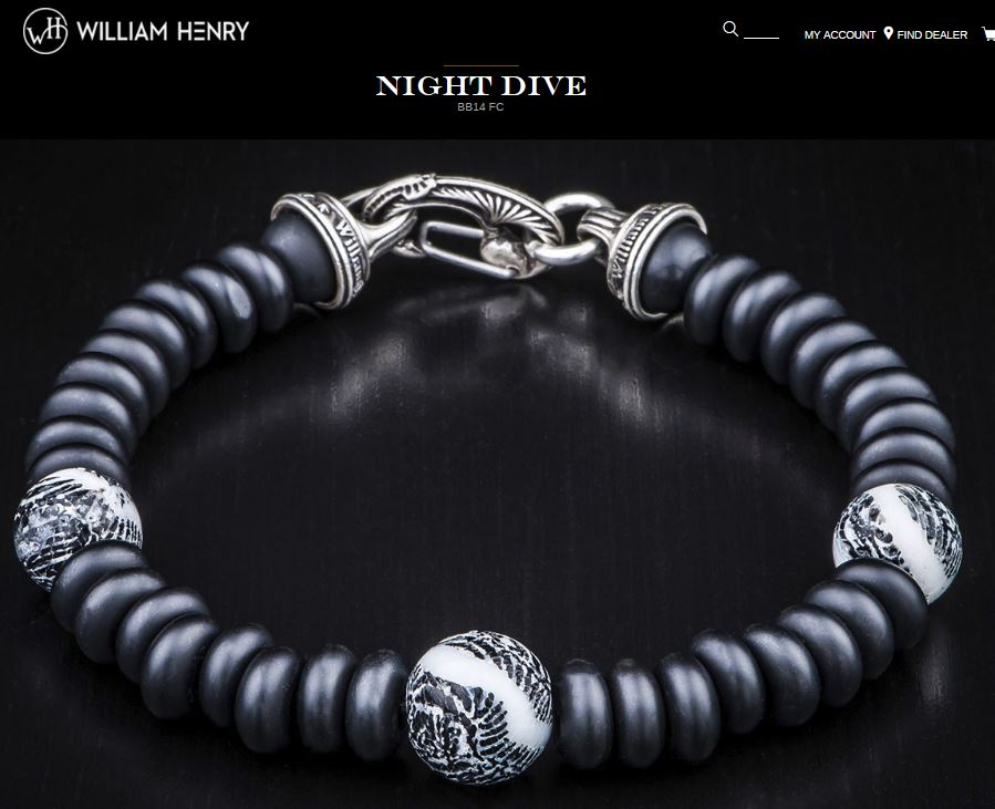 William Henry BB14FC Night Dive Bracelet Fossil Coral Beads
