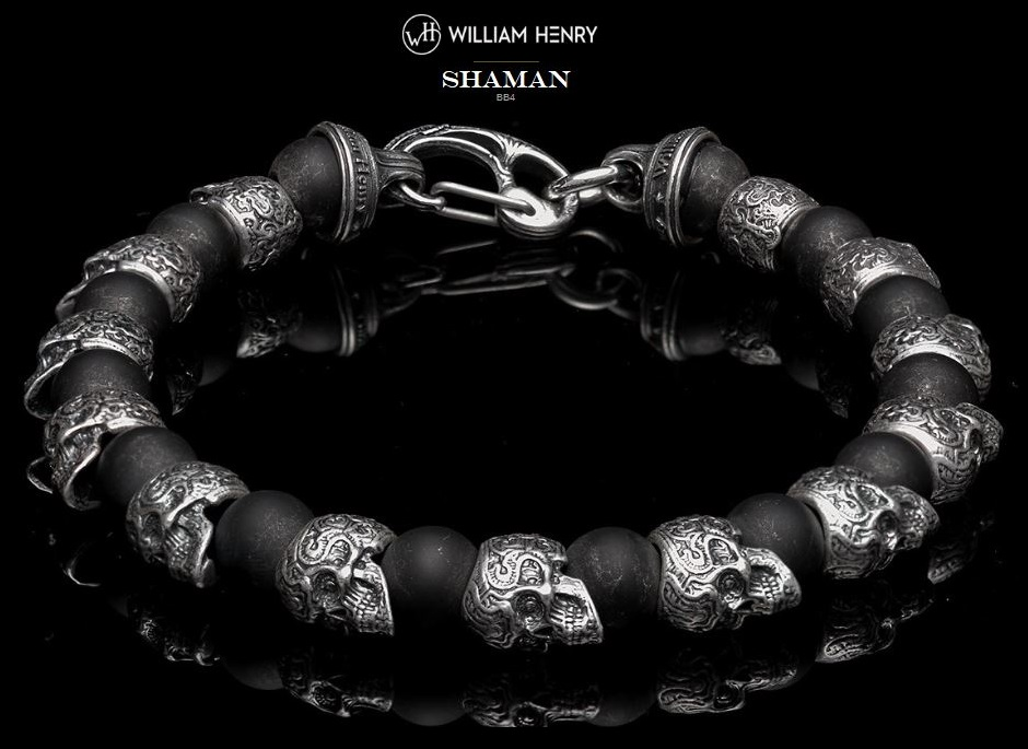 William Henry BB4 Shaman Sterling Silver Skull Bracelet