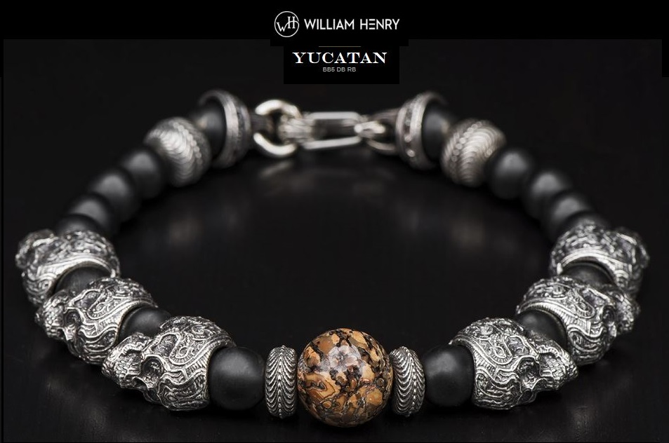 William Henry BB5DBRB Yucatan Skull Dinosaur Bone Bracelet
