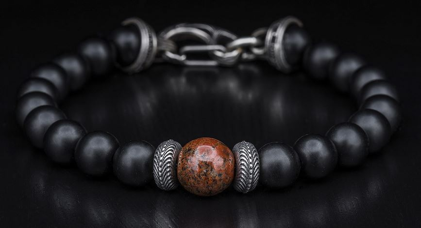 William Henry BB6DBRB Onyx/Dinosaur Bone Bracelet (Online Only)