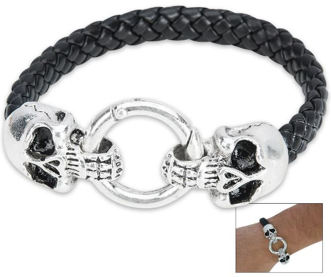 Dueling Skull Black Leather Bracelet