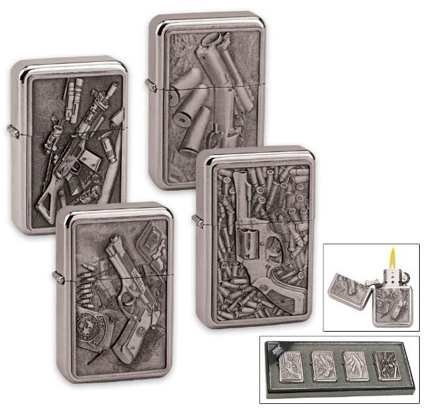 Firepower Brushed Brass Lighter Set