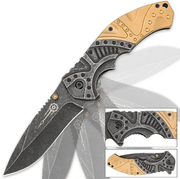 Gears and Gold Steampunk Folding Knife, Assisted Opening