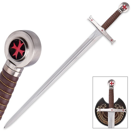 Crusader Knights Templar Sword w/ Display Plaque