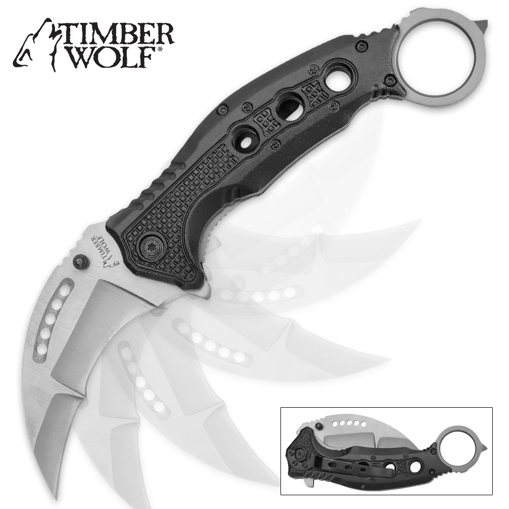 "Timber Wolf ""Ti Crescent"" Folding Karambit Assisted Opening"