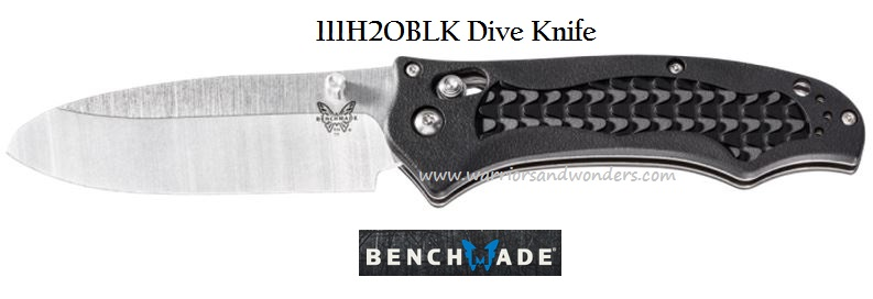 Benchmade 111H2OBLK Dive Knife Plain Edge, Black Handle