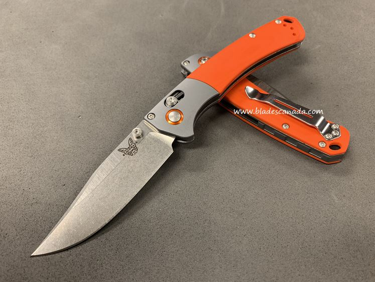 Benchmade Mini Crooked River, 20CV Steel, Orange G10 15085CU13 (Online Only)