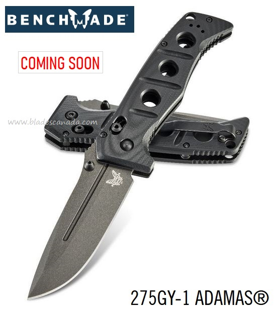 (Coming Soon) Benchmade Knives Adamas Grey, CPM-CruWear Steel, G10, 275GY-1