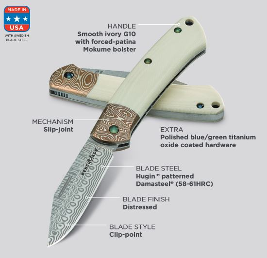 Benchmade Proper Damascus Ivory G-10 Limited Edition 318-181