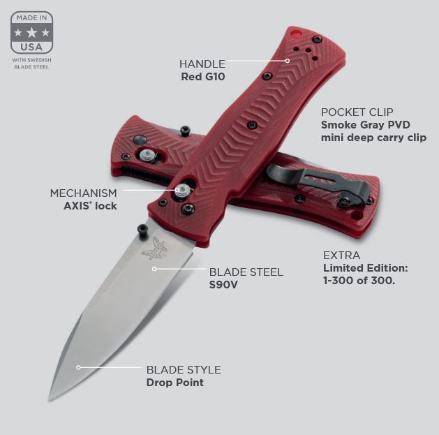 Benchmade 531-1901 Limited Edition S90V, Red G10