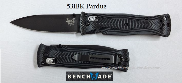 Benchmade Pardue Black/ Grey G-10 - Black Plain Edge 531BK