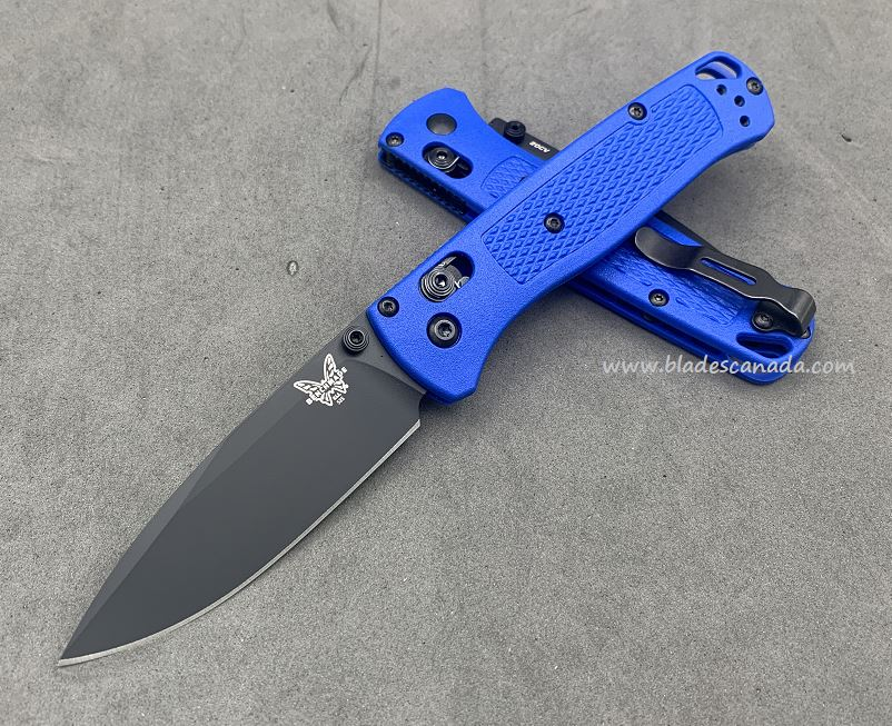 Benchmade Bugout, Black 20CV Blade, Blue Handle, Black Thumbstud & Standoffs, 535CU49