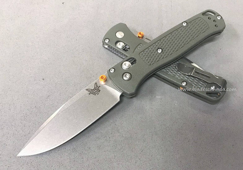 Benchmade Bugout, 20CV Blade, OD Handle, Orange Thumbstud & Standoffs, 535CU59