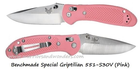 Benchmade Griptilian 551 Drop Point S30V Pink (Online Only)