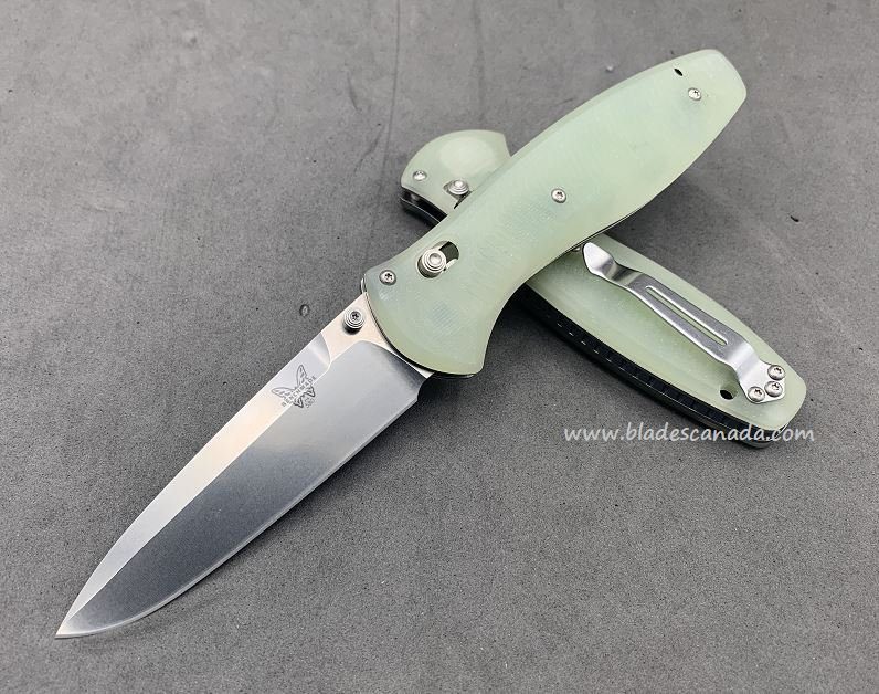 Benchmade Customized Barrage Osborne, S90V Steel, Natural Jade , Assisted Opening, CU21