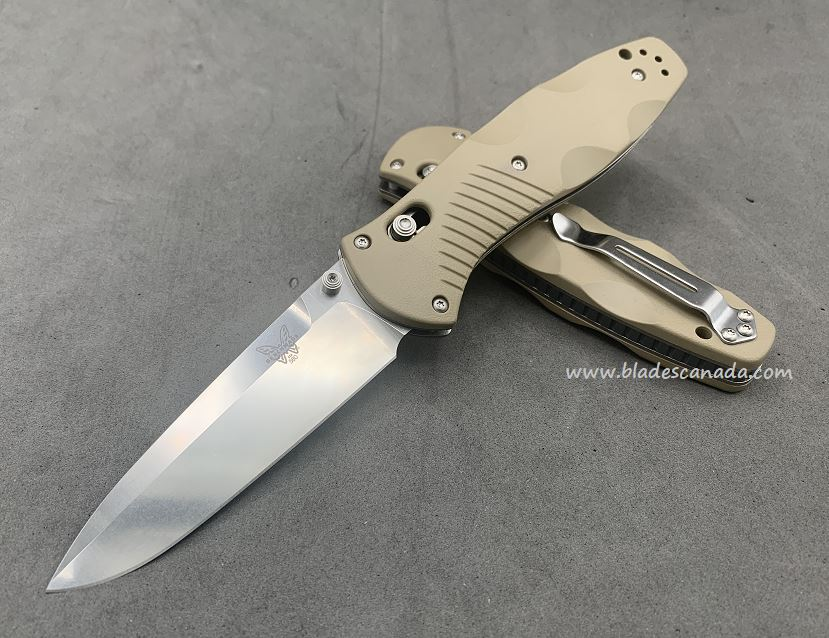 Benchmade Customized Barrage Osborne, 20CV Steel, Sand Handle, Assisted Opening, 580CU46
