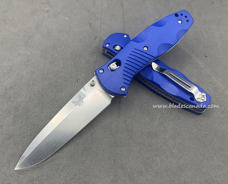Benchmade Customized Barrage Osborne, 20CV Steel, Blue Handle, Assisted Opening, 580CU50