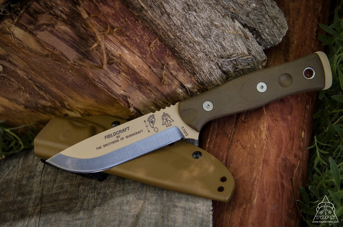 TOPS BROSTAN B.O.B. Knife w/Kydex Sheath - Tan Finish