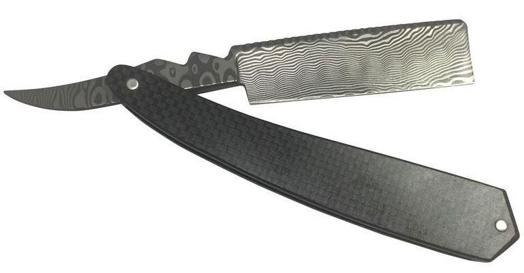 Bastion Straight Razor Damascus and Carbon Fiber
