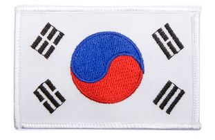 White Trim Korean Flag Iron On Patch
