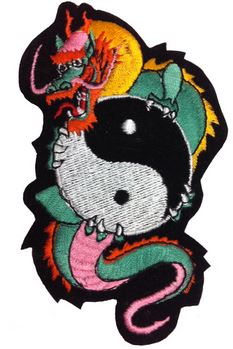 Yin Yang Dragon Iron On Patch
