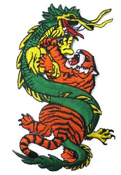 Tiger and Dragon Iron On Patch