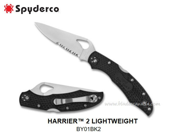 Byrd Knives Harrier 2 FRN Partially Serrated, By Spyderco BY01PSBK2 (Online Only)