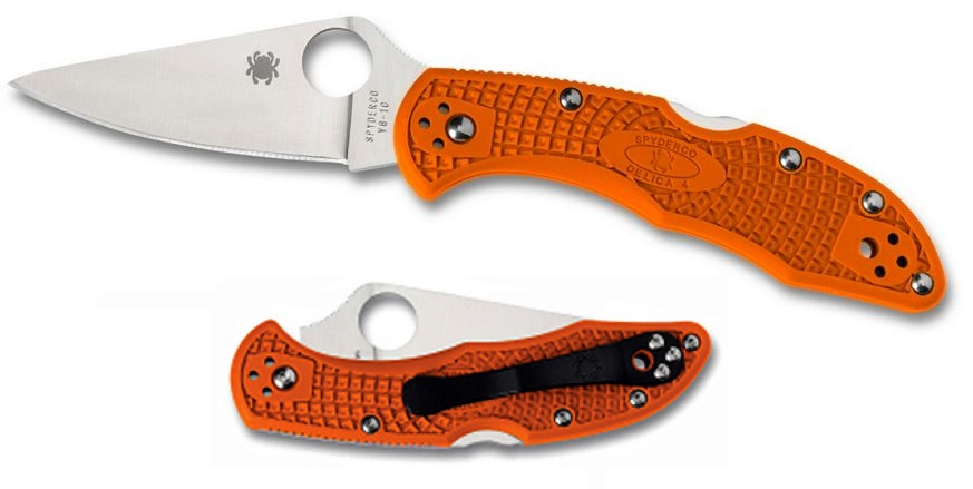Spyderco Delica 4 Orange FRN Handle FFG Folding Knife C11FPOR