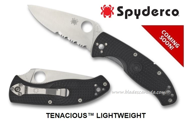 Spyderco Tenacious Lightweight, FRN, Partially Serrated C122PSBK